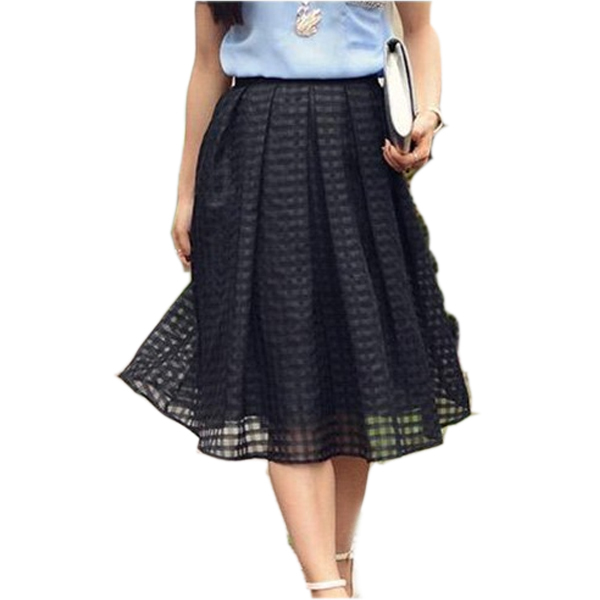 100bc64906 Get Quotations · Hot Sale European Fashion High-end Women Plaid Skirt Black  Organza Pleated Skirts Chiffon High