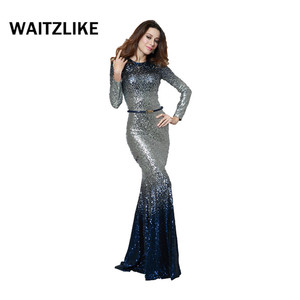 Elegant muslim evening dress long sleeve sequin mini mermaid dress exotic evening gowns