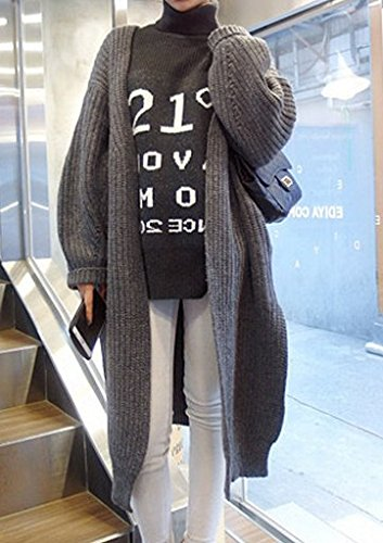 Long Gray Cardigan Sweater Thick Autumn the New Students Loose Big Yards Ms. Autumn and Winter Sweater Jacket
