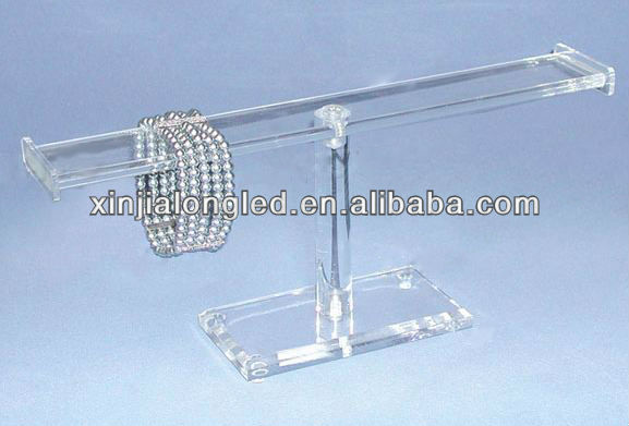 Acrylic 1-Tier Bracelet Display T-Bar Jewelry Bracelets Watch Bangles Flat Bar