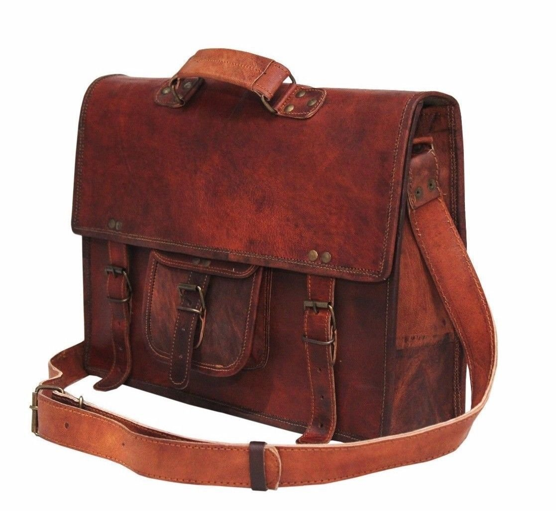 "Handolederco 15"" vintage leather briefcase shoulder messenger laptop bag for men and women's"