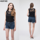 ORHYME Professional Design 100%Polyester Embroidered Sleeveless Lace Top Woman Summer Blouse