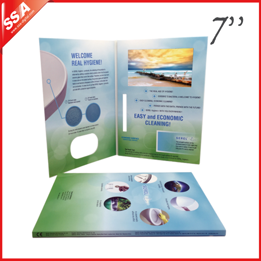 Business promotional gift greeting card video print card with bespoke 7 inch video brochure
