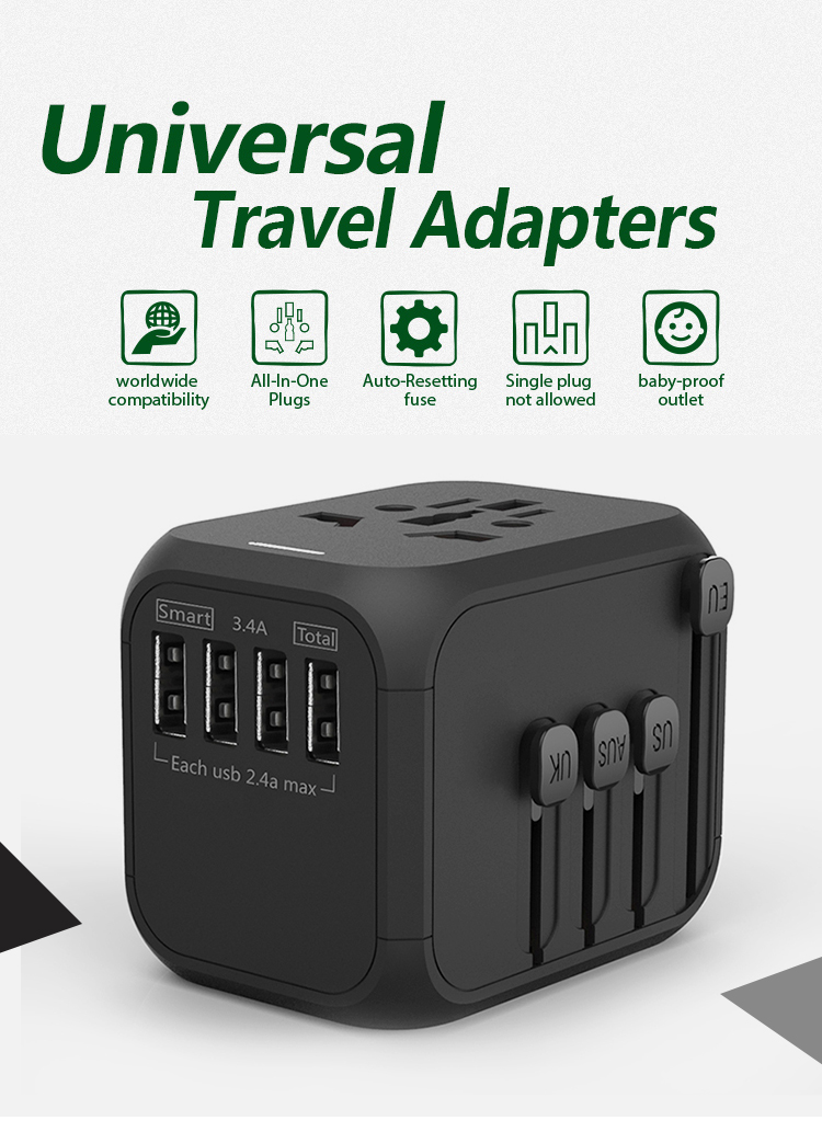 wholesale 5v 3.4a 4 ports usb extension socket desktop universal EU US AUS UK plug multi usb electrical plug socket