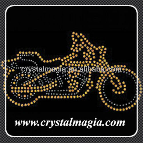 motorbike crystal hotfix transfer design for t-shirt