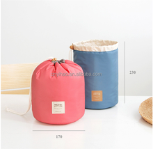 Multi-functional Pot Travel Big Capacity Drawstring Round Blank Women Cosmetic Pouch Bag