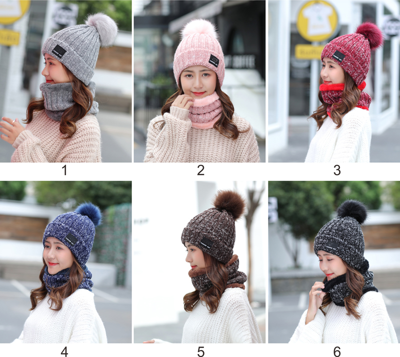 Fur Pom Pom Ball Adult Acrylic Thick Knit Hat Warm Fleece Lined Beanie Infinity Scarf Set Knitted Women Winter Hat And Scarf Set
