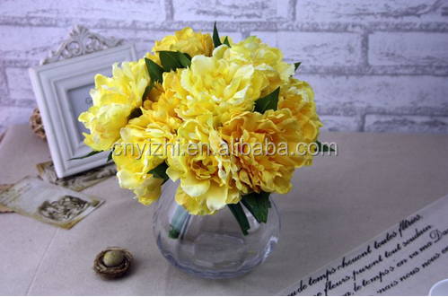 wholesale artificial yellow peony bouquet mini high quality silk peony flower peony bunch with 5 heads for wedding decoration
