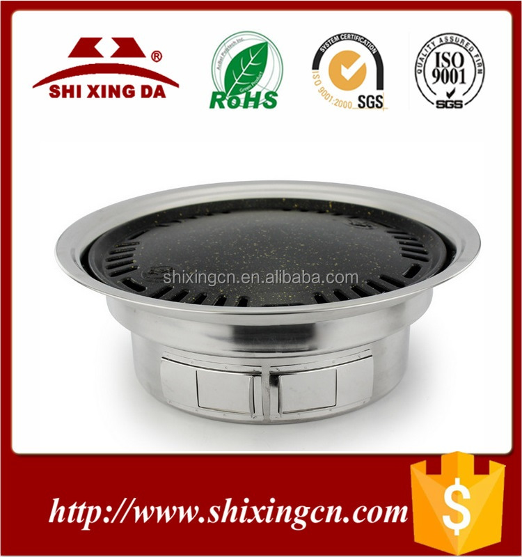 Korean Style Stainless Steel non stick Round Grills BBQ Pan restaurant tables with grill