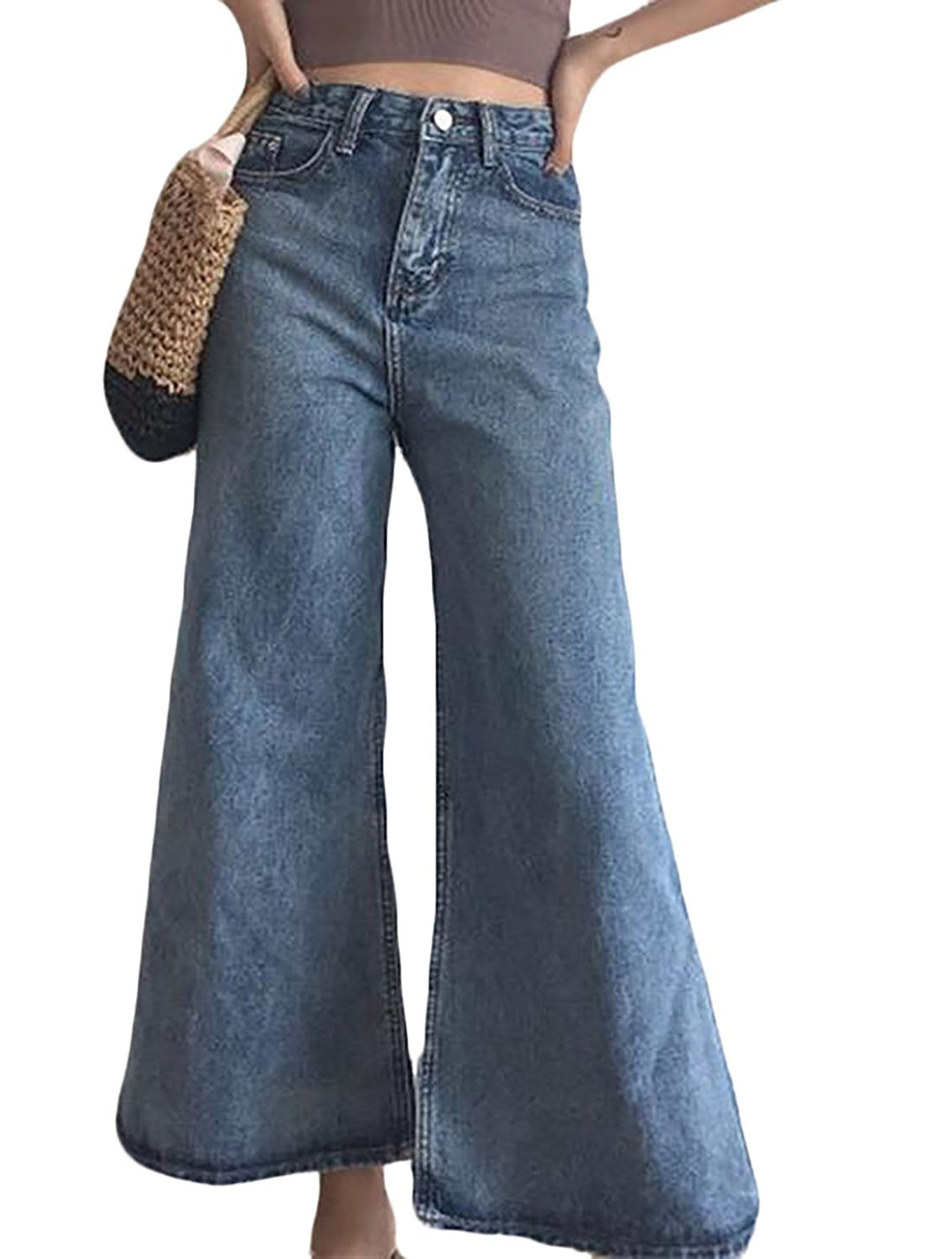 aef52c93cf77d6 Get Quotations · YYG Womens High Waist Palazzo Bell-Bottom Wide Flared Jeans