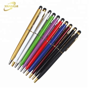 wholesale multicolor printing promotional pen 2 in 1 stylus touch pen with custom logo