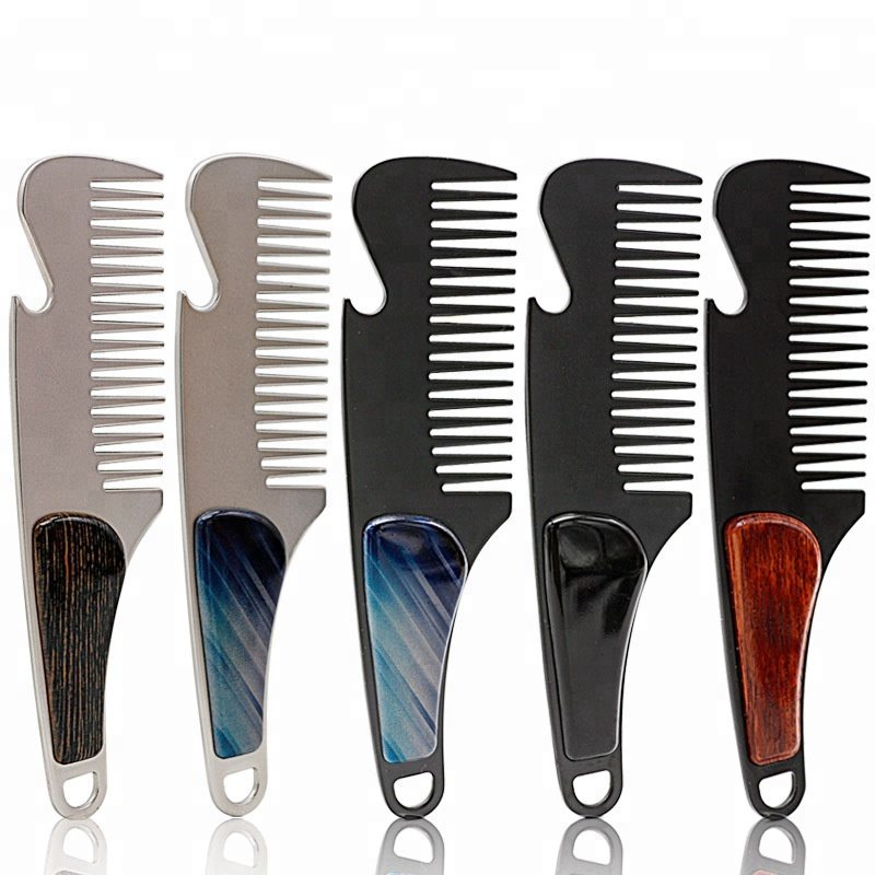 Portable metal beard <strong>comb</strong> 100% stainless <strong>steel</strong> <strong>hair</strong> mini pocket metal beard <strong>comb</strong> for men