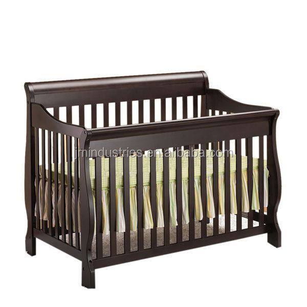 white baby sleigh cot/crib in pine wood