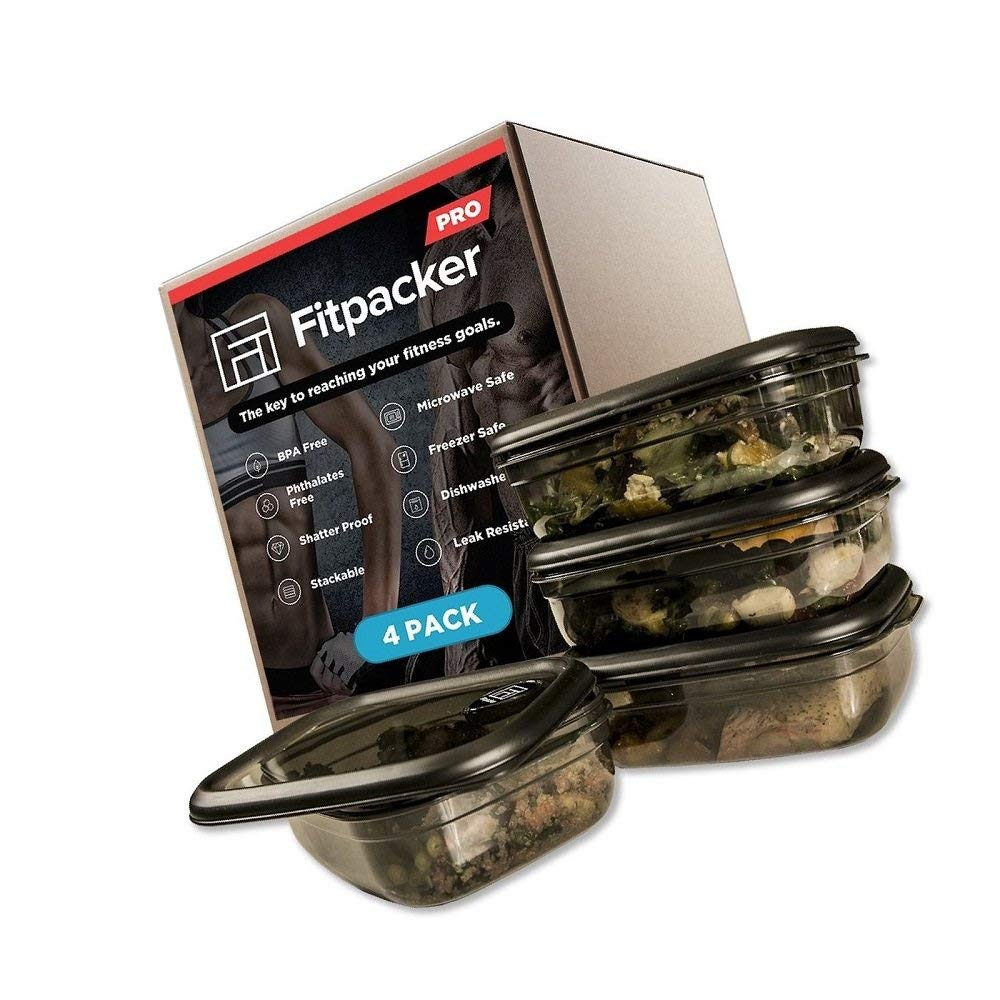 Green_Kitchen Fitpacker PRO Premium Meal Prep Containers - Rugged Food Storage - Microwaveable, Freezer Safe (33oz - 4pack)