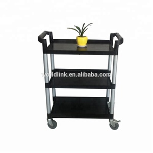 High Quality Plastic 3 Tire Hand Hotel Service Cart