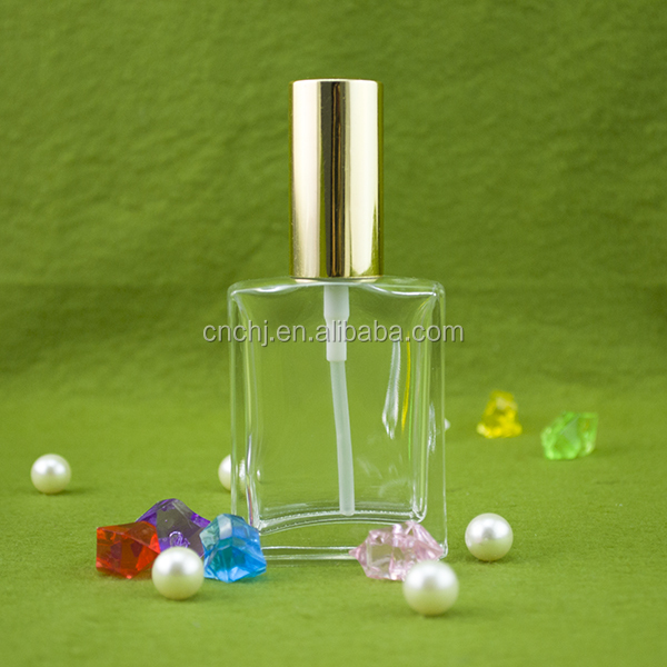 custom made morocco rectangle 15ml 30ml perfume glass bottle with pump cap