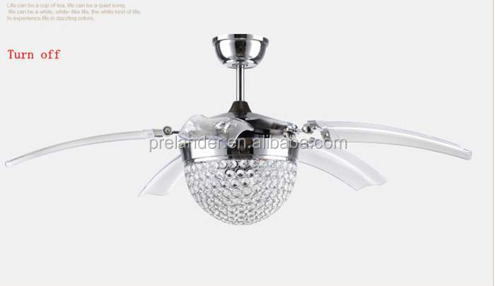 Ceiling Fan Hidden Blades Transparent Crystal 5 Blades Golden Decorative Ceiling  Fan With Retractable Blades