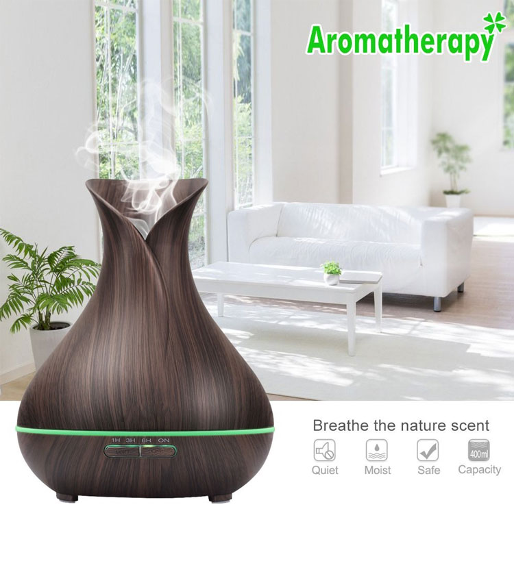 Best sellers plastic rainbow aroma diffuser 7 LED Color Changing Lamps 400ml wooden diffuser