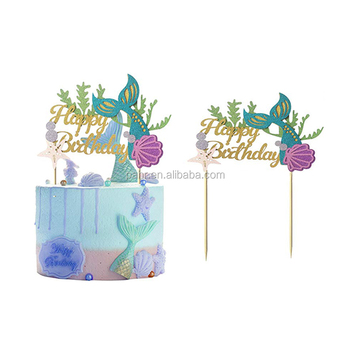 Mermaid Party Supplies Happy Birthday Mermaid Tail Cake Topper Buy
