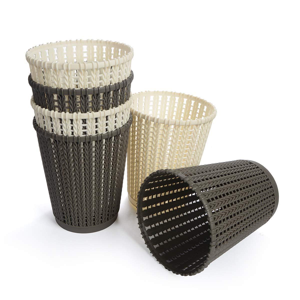 Saim Rattan Waste Basket Plastic Woven Household Paper Wastebasket Trash Can Garbage Waste Bin Container for Kitchen, Hotel, Office, Bedroom, Bathroom, Living Room