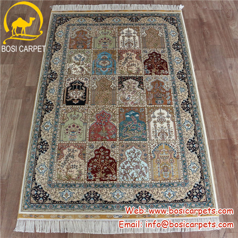 3.3x5ft indian rugs hand woven persian design hand knotted pure silk iranian carpet