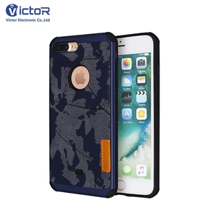best service 1c9ef 465fd OEM Logo Pasted Leather Camo Cellphone Case For iPhone 7 Plus Case