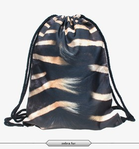 promotional polyester printed zebra black stripe plain fashion bag