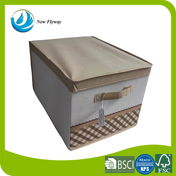 Household Decorative Foldable Storage Cube Portable Outdoor Bin Printing  Storage Boxes With Khaki Cover