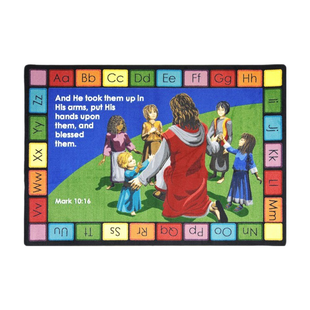 "Joy Carpets Kid Essentials - Inspirational Area Rugs Into His Arms - Rectangle - 7'8"""" x 10'9"""" - Multi Toys Christmas Gift"