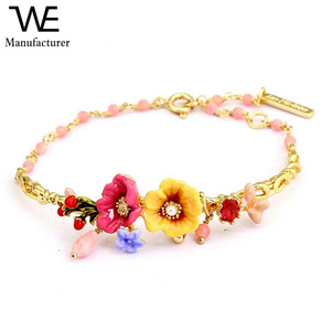 Environmental Alloy Jewelry French Romance Plant Peony Flowers Gold Plated Adjustable Hand Painted Women Enamel Bracelet