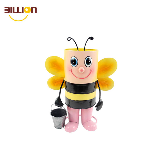 Cartoon Metal Animal Shape Little Bee Garden Decor