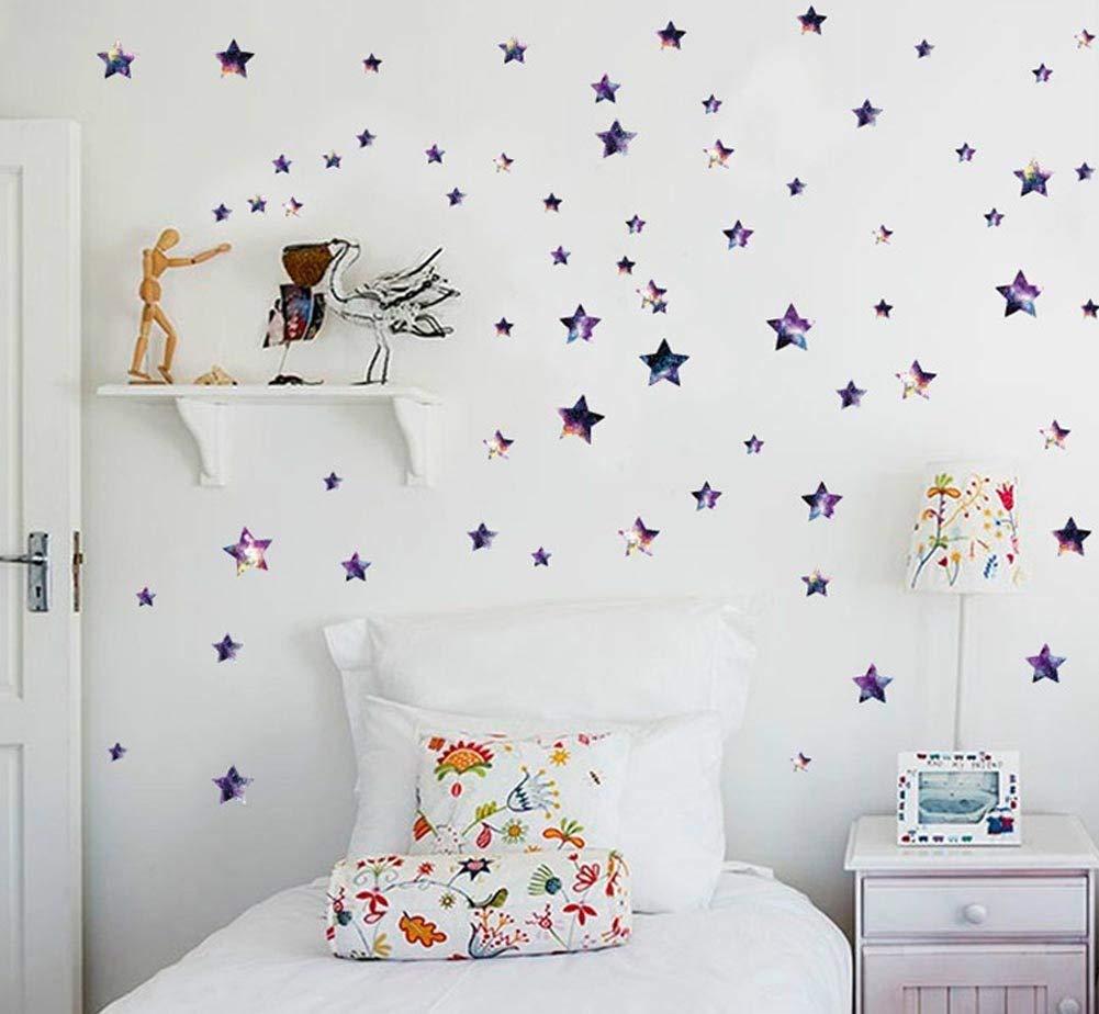 BIBITIME DIY Space Nebulae Starry Sky Stars Wall Decals Vinyl Beautiful Tiny Spot Star Stickers for Classroom Window Nursery Bedroom Children Kids Room Decor