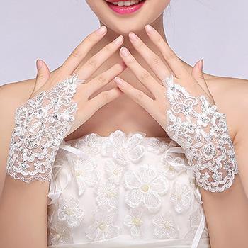 Bx02 Bridal Price Beaded Lace Wrist Length Short White Fingerless Wedding Gloves Hot For