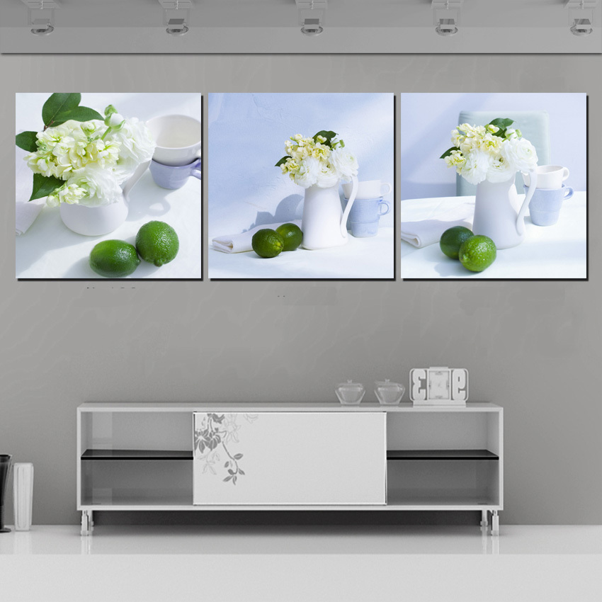 3 Panel Modern Home Decor Canvas Printings White Cup Table Flower Wall Pictures For Living Room Decoration Fruit Still Life Art