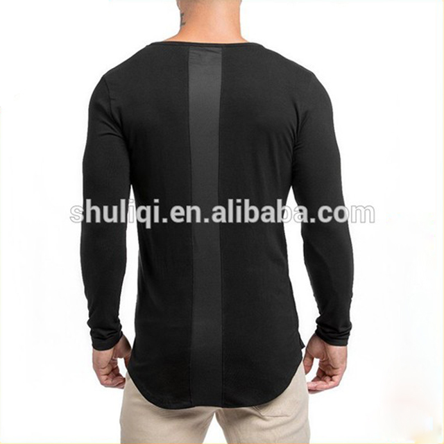 online shopping 100% cotton men long sleeve t shirts plain fit curved hem t shirt wholesale china
