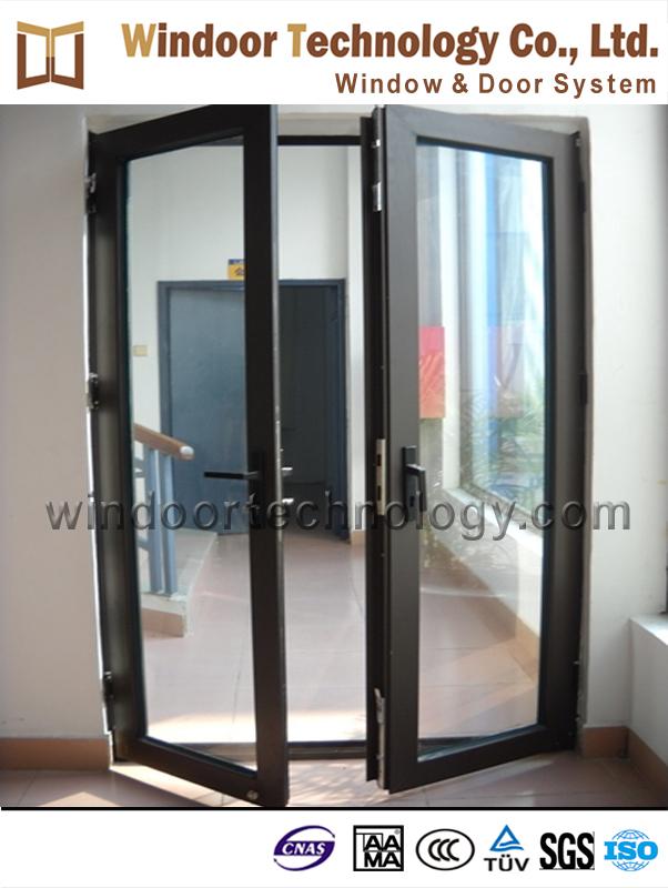 2 hoja de doble puerta de aluminio de cristal franc s de for Puertas dobles exterior