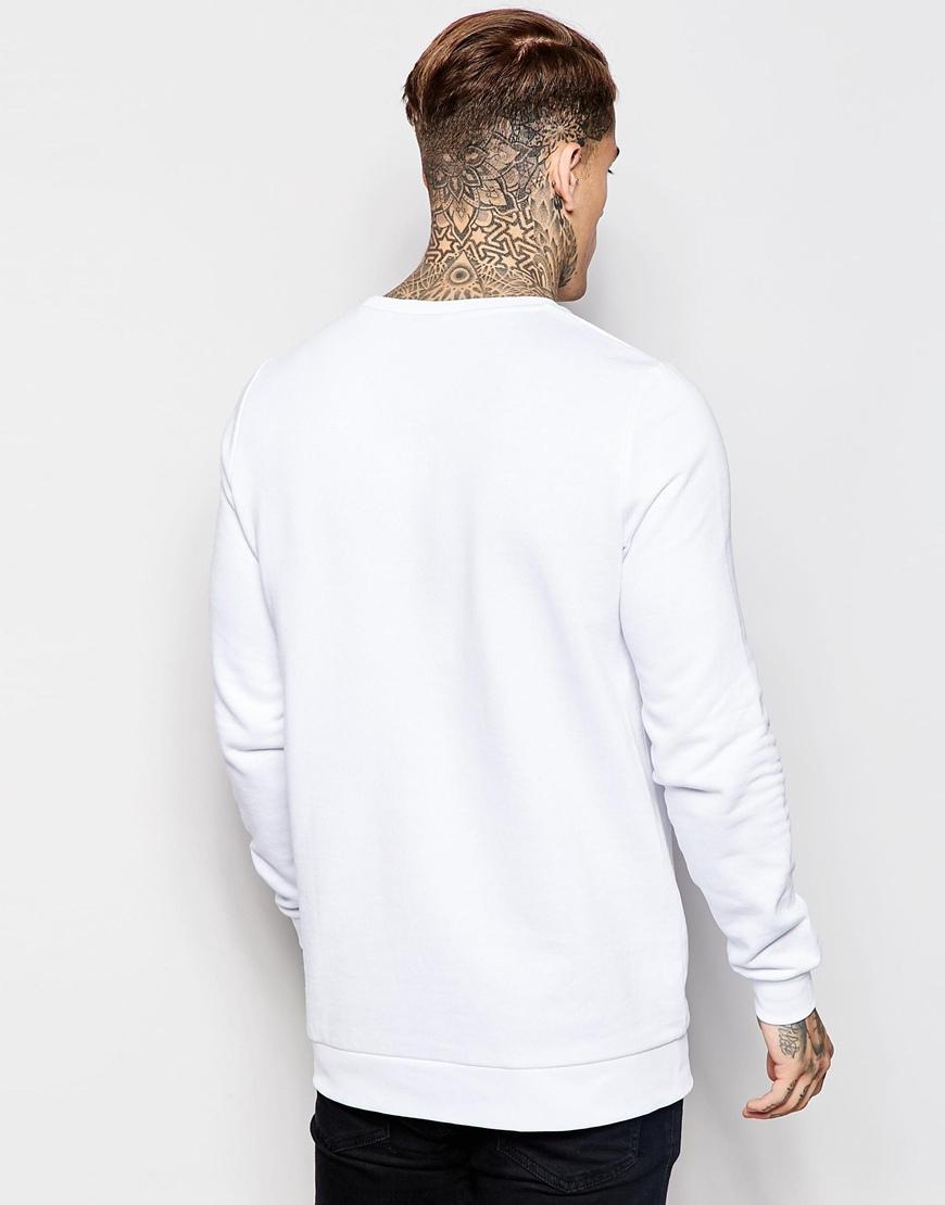 Longline Sweatshirt With Crew Neck Men Blank Long Sleeve Top ...