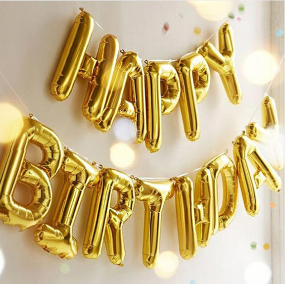 Happy Birthday Balloons alphabet letters hanging Birthday Party Decorations Kids Golden Silver Pink Blue Foil Balloons Garland