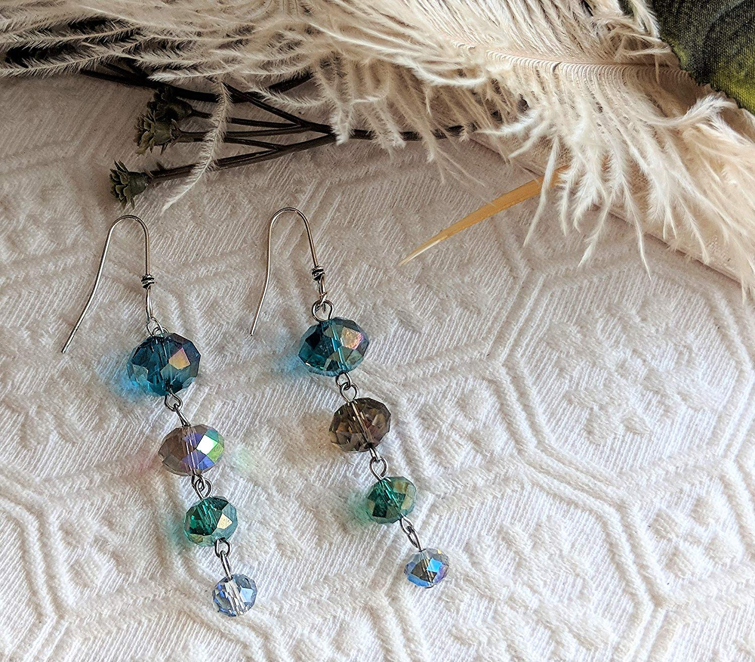 One of a Kind Sterling Silver Teal Topaz Green Blue Faceted Crystal Dangle Earrings