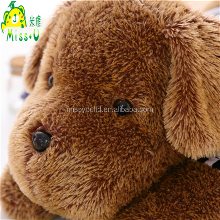 Direct Manufacturer Lovely Animal Plush Lying On Front Dog Toys With Striped Cloth
