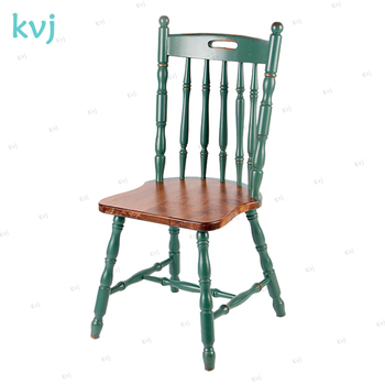 KVJ 7014 Chinese Antique Bamboo Joint Cafe Wood Windsor Salt Chair