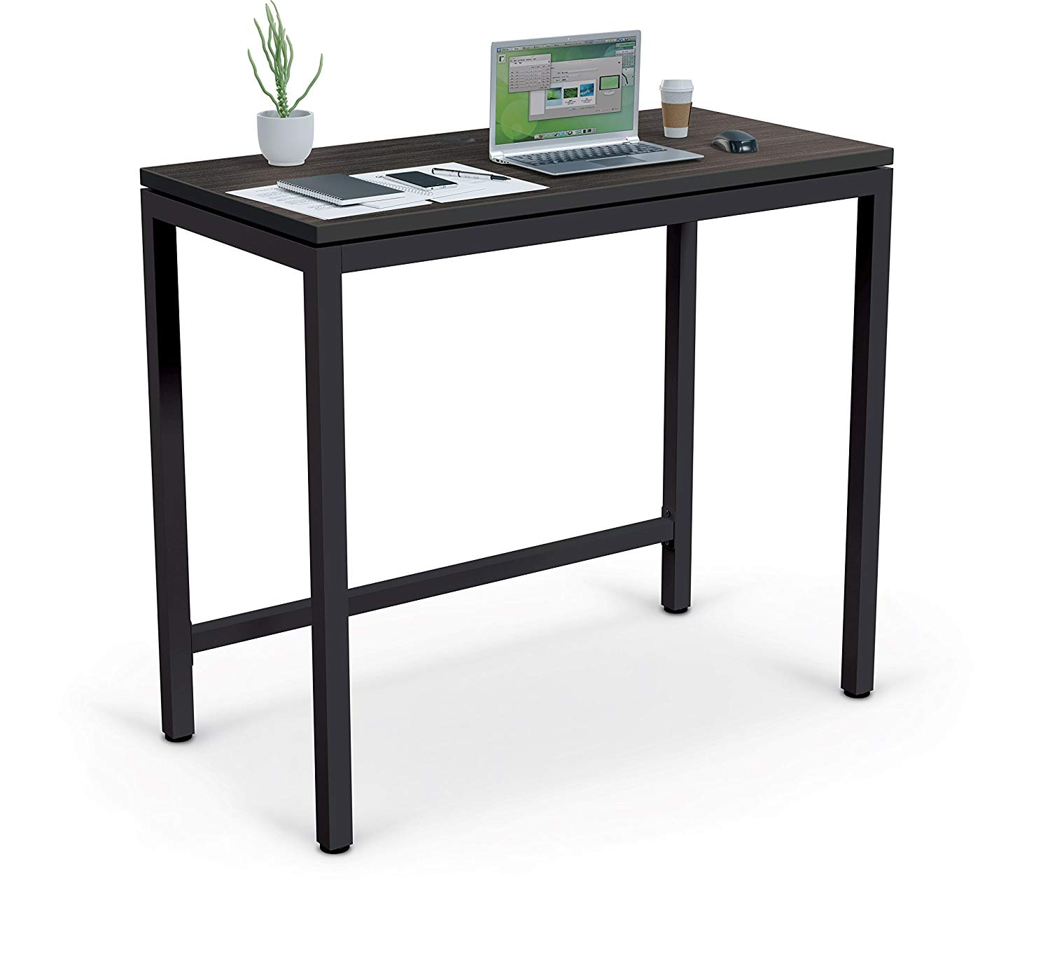 MooreCo Essentials Stand Up Table Desk, Asian Night Top/Black Edgeband + Black Frame (84314)