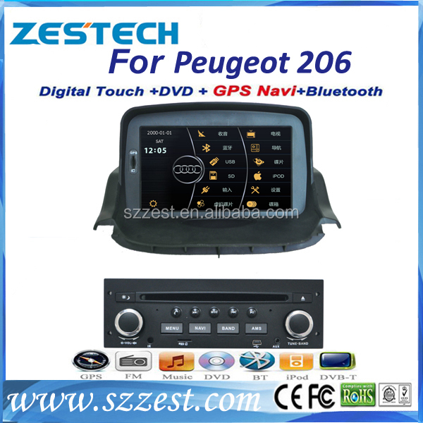 ZESTECH touch screen for Peugeot 206 car radio