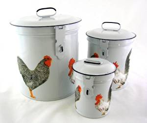 French Country Canister Set ~ Kitchen Storage Canisters ~ Decorative Containers E4 ~ White Retro Enamel with Vintage French Roosters