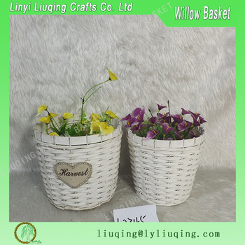 Alibaba & Set Of 2 White Wicker Flower Pot With Plastic Lining Woodchip Plant Baskets - Buy Set Of 2 White Wicker Flower PotWicker Flower Pot With Plastic ...