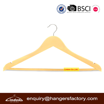 New design golden clothing hanger plastic with notches and bar