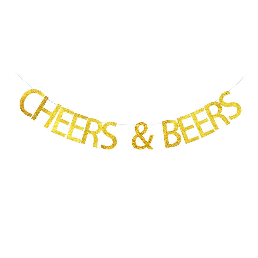 Cheers & Beers Banner, Celebrating Party Decor for Wedding, Engagement, Birthday, Anniversary, Graduation, Retirement, New Year, Christmas Party, Gold Glitter Party Supplies