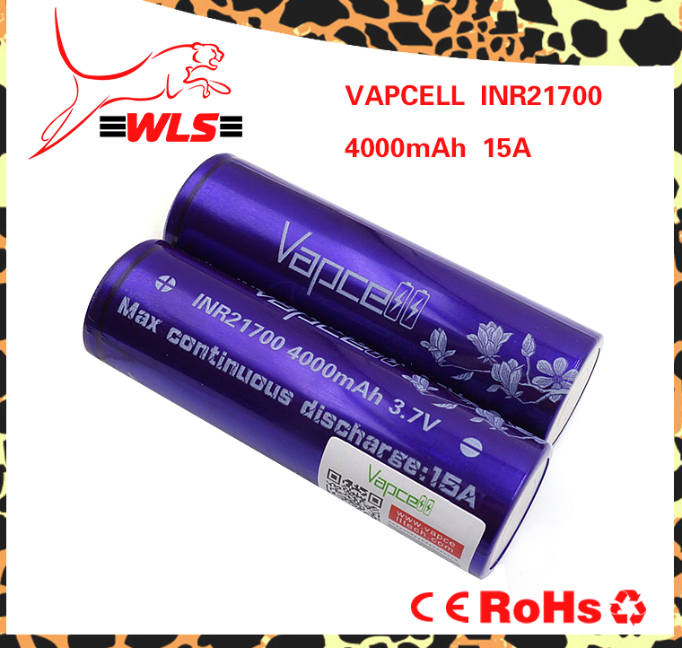 Nice quality Vapcell 21700 4000mAh 15A rechargeable lithium battery