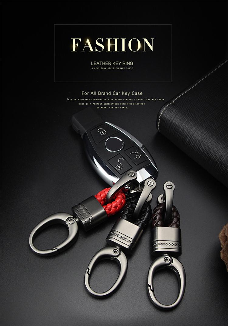 Hand Woven Horseshoe Buckle Car Keychain Keyring Auto Car Key Rings Holder Clip Gun Metal /& Wine Red