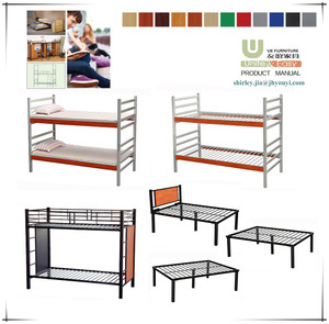2019 YOUYI factory Bedroom furniture metal steel frame double bunk bed with environmental powder coating for school bedroom